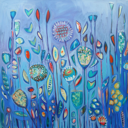 BLUE FLOWERS fine art print by Shyama Ruffell on ArtPublish.com