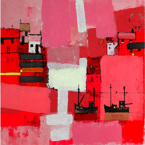Harbour Abstraction Pink by Colin Ruffell