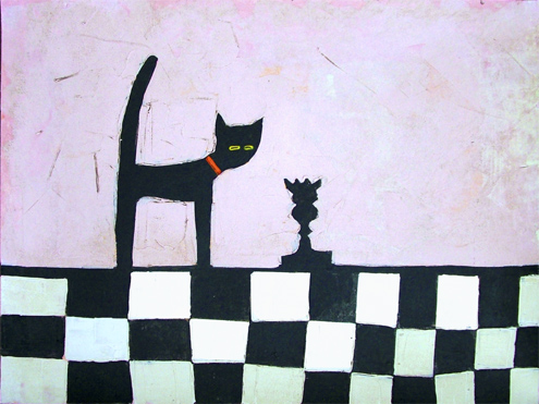 CAT AND BLACK QUEEN by Colin Ruffell
