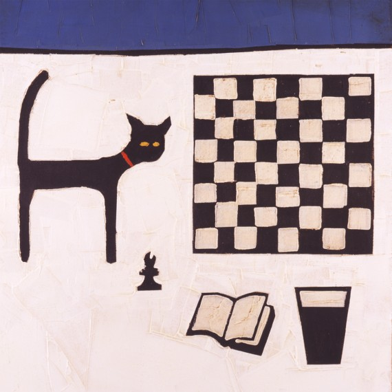 CAT AND CHESSBOARD by Colin Ruffell