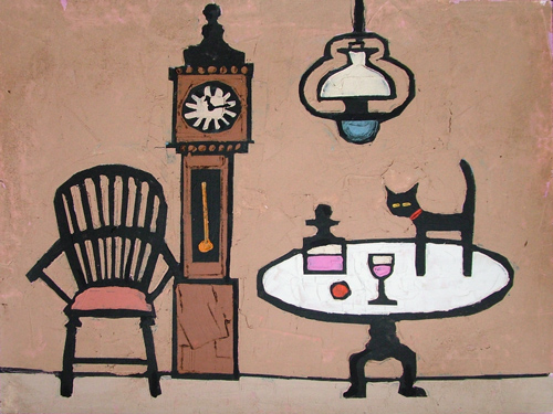CAT AND GRANDFATHER CLOCK by Colin Ruffell