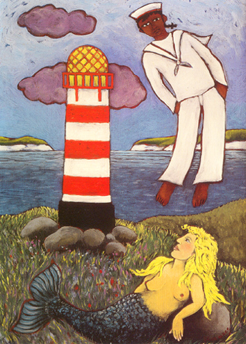 LIGHTHOUSE AND MERMAID by Fran Slade