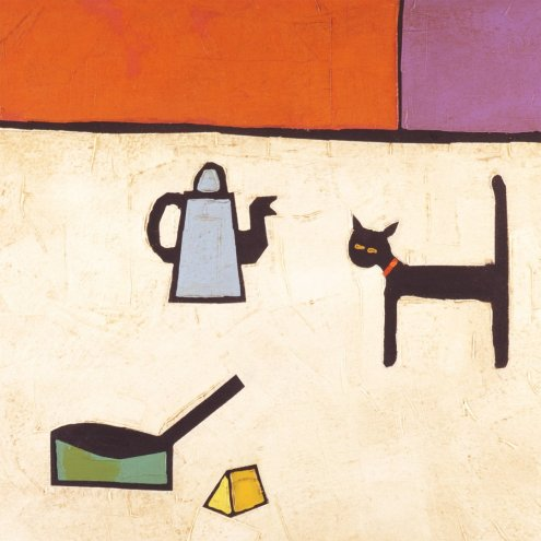CAT AND BLUE COFFEE POT by Colin Ruffell