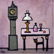 Cat and Grandfather clock