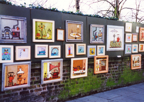 Colin Ruffell paintings at Bayswater Road art exhibition in 1960's