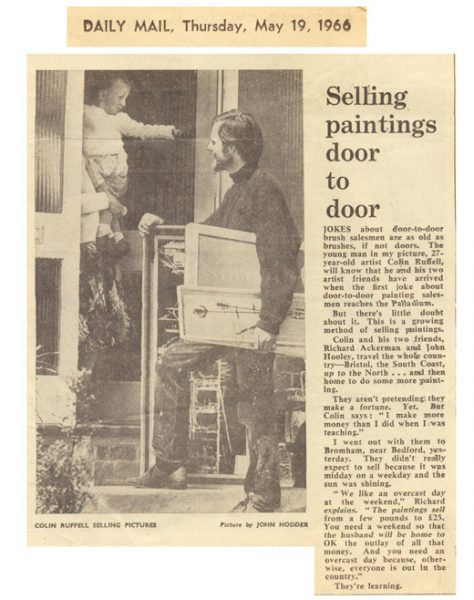 Selling paintings door to door. Daily Mail cutting from 1966
