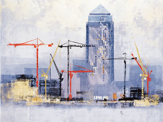 CANARY WHARF AND CRANES