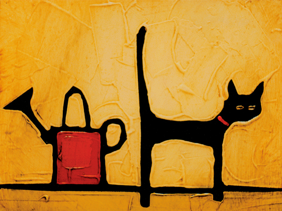 CAT AND WATERING CAN