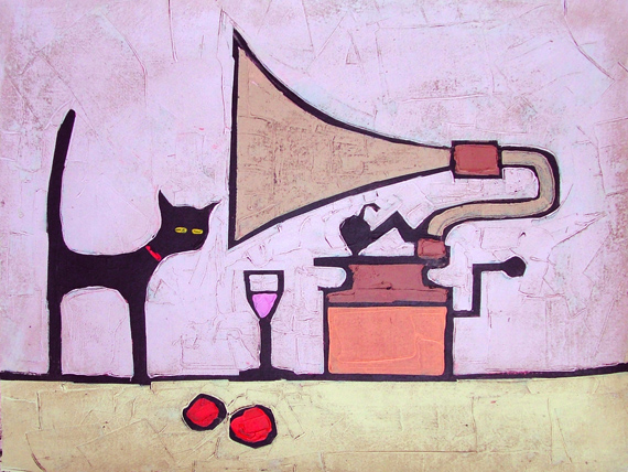 CAT AND OLD RECORD PLAYER