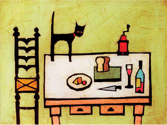 CAT ON TABLE