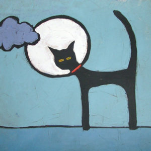 CAT AND FULL MOON