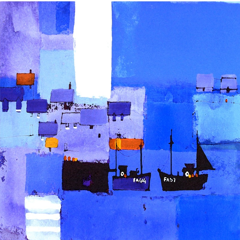 Harbour Abstraction Blue by Colin Ruffell