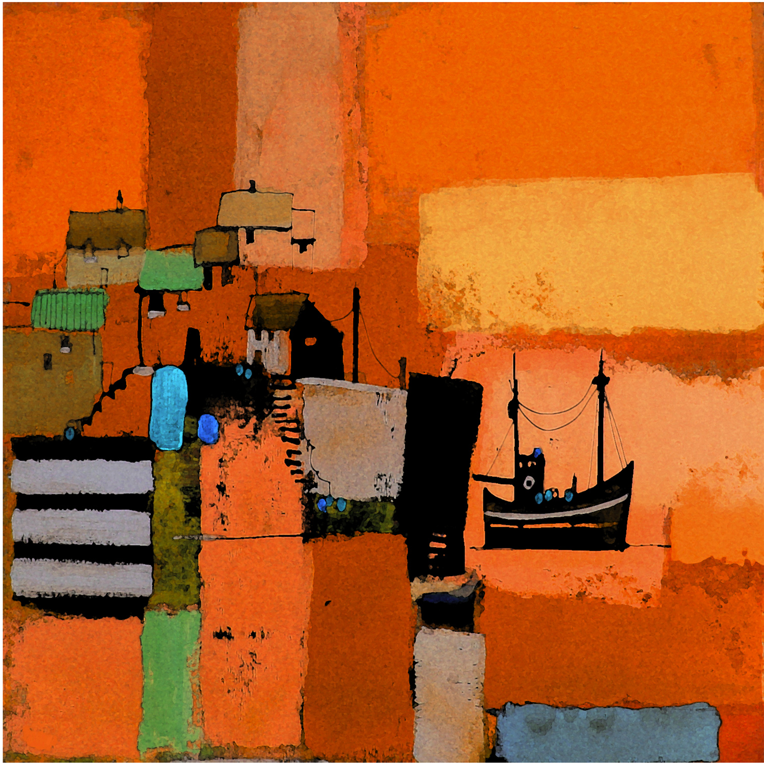 Harbour Abstractions Orange by Colin Ruffell