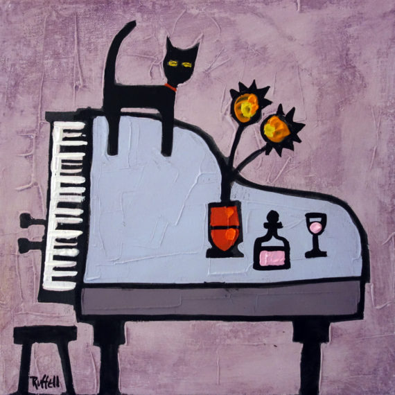 G1 CAT ON PIANO by Colin Ruffell