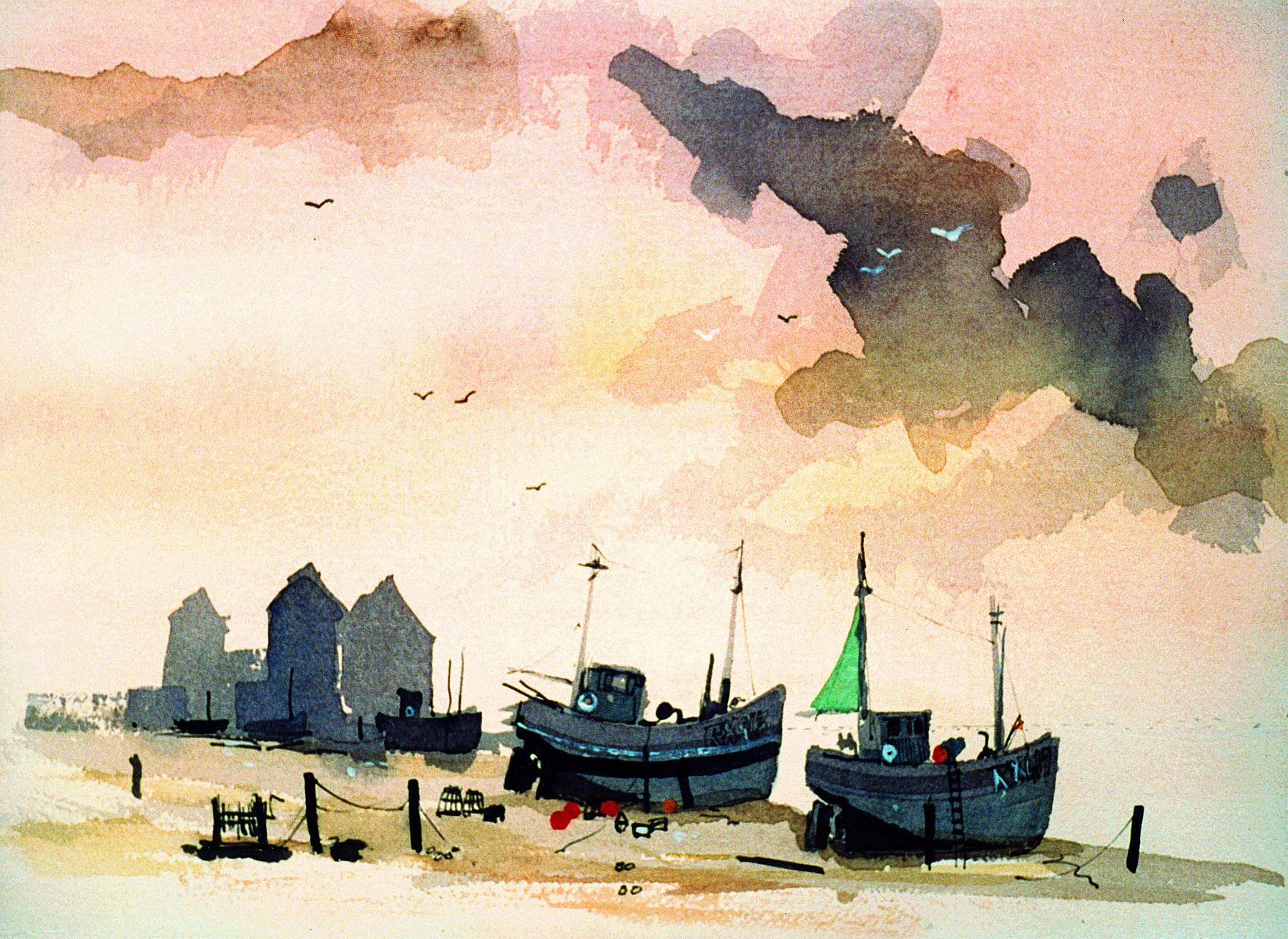 HASTINGS BEACH by Colin Ruffell
