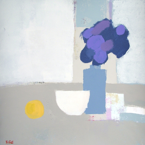 WHITE BOWL BLUE FLOWERS by Colin Ruffell
