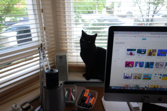 computer and cat