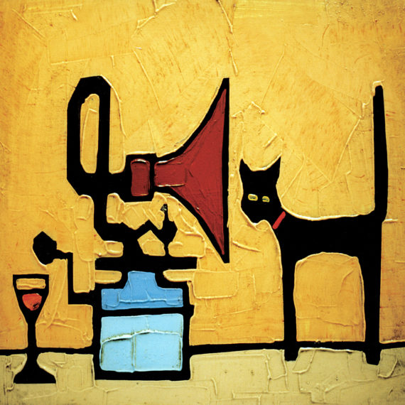 CAT AND GRAMOPHONE card