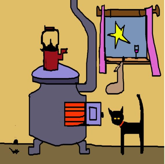 CAT AND STOVE card