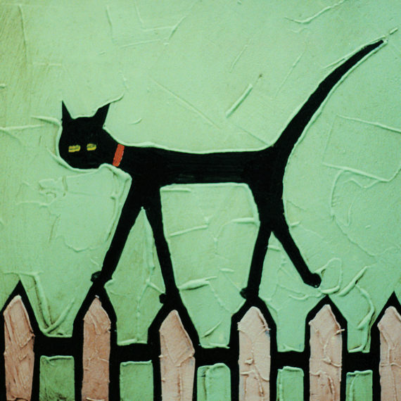 CAT ON FENCE card