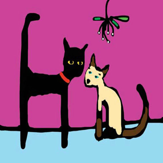 CAT AND MISTLETOE card