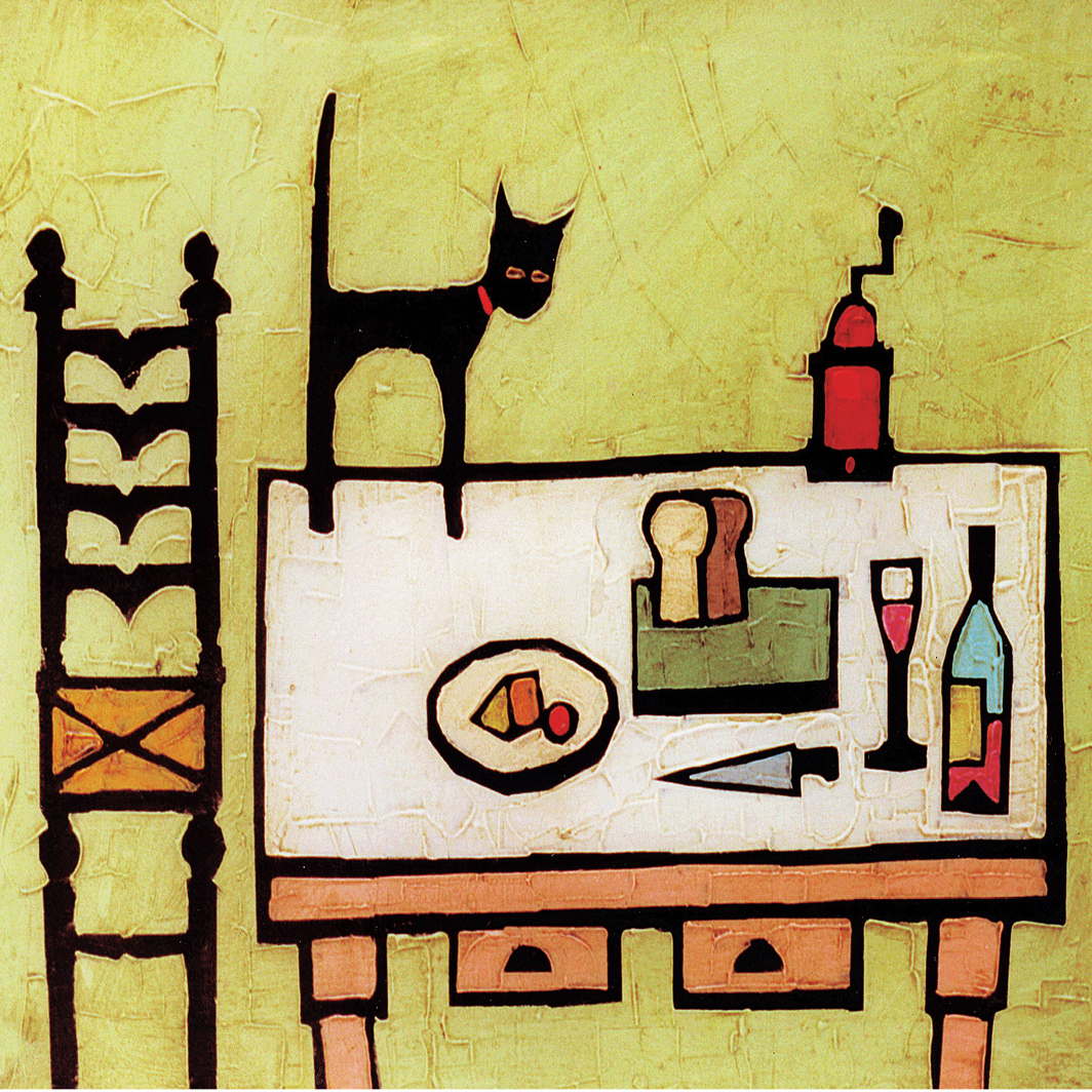 CAT ON TABLE card