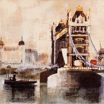 TOWER BRIDGE AND TUG card