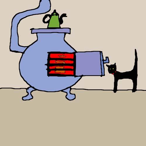 CAT WARMING UP card