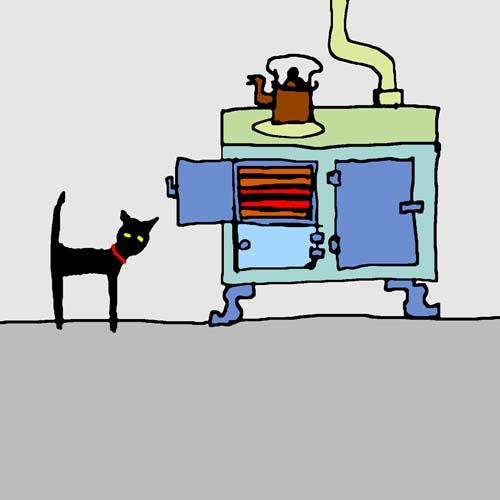 CAT IN KITCHEN card