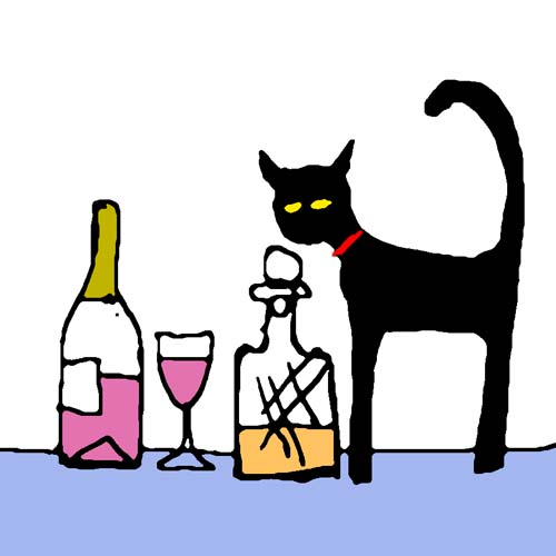 CAT AND WINE card