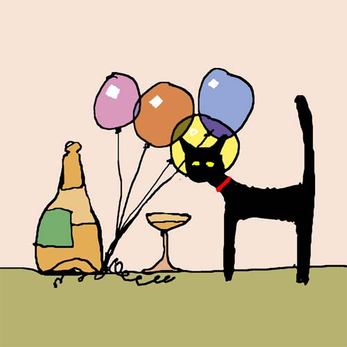 CAT AND BALLOONS card