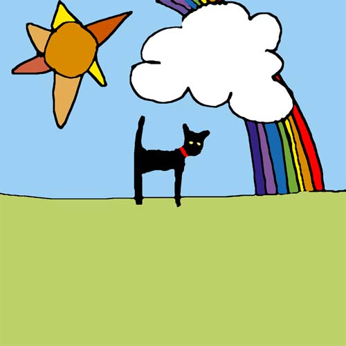 CAT AND RAINBOW card