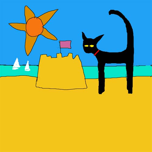 CAT AT SEASIDE card