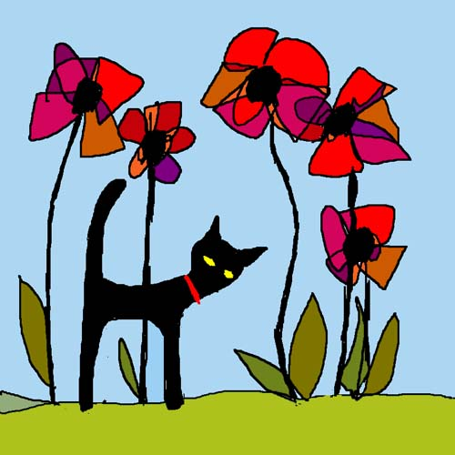 CAT AND POPPIES card