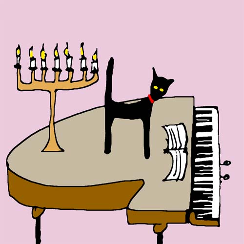 CAT AND GRAND PIANO card