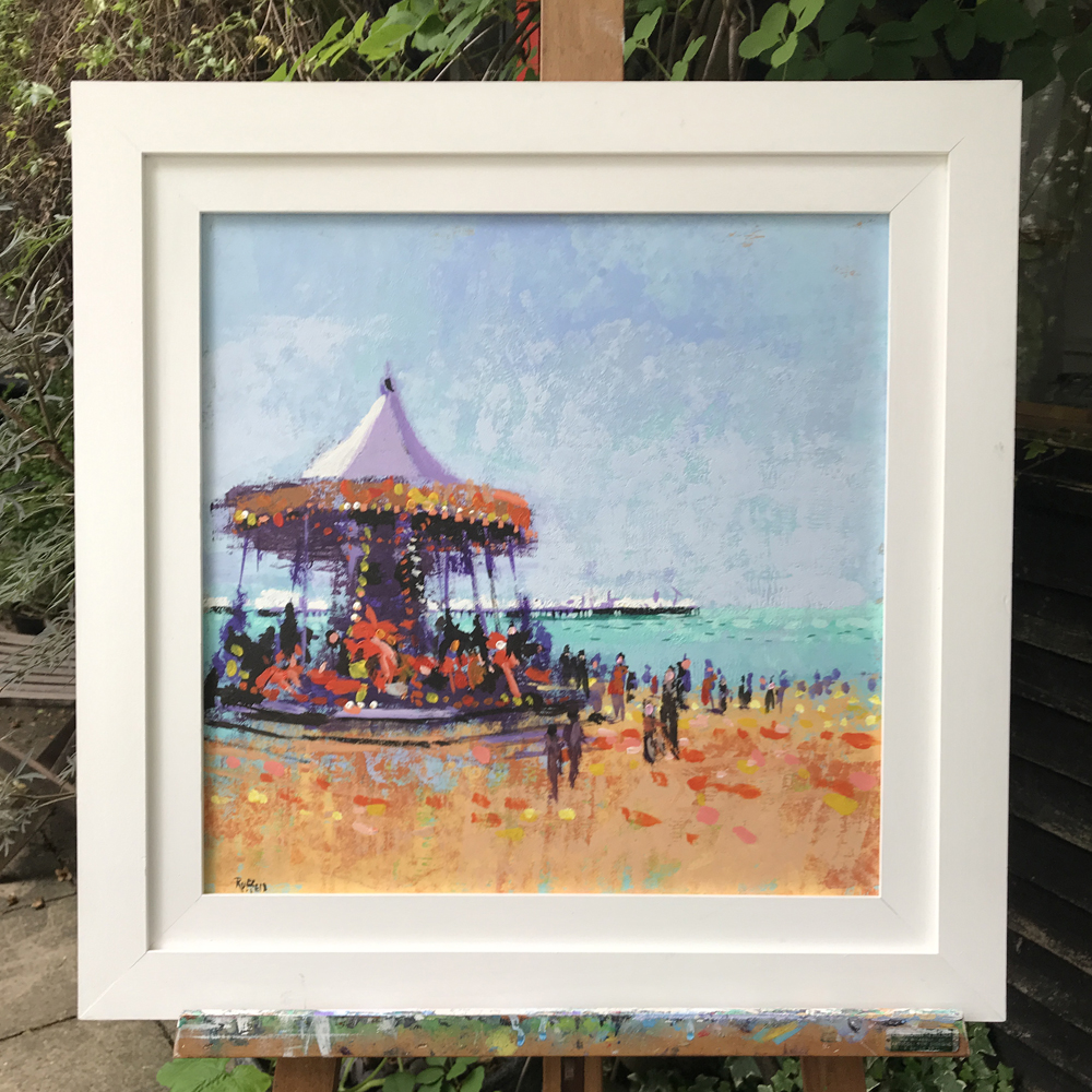 Carousel in white frame