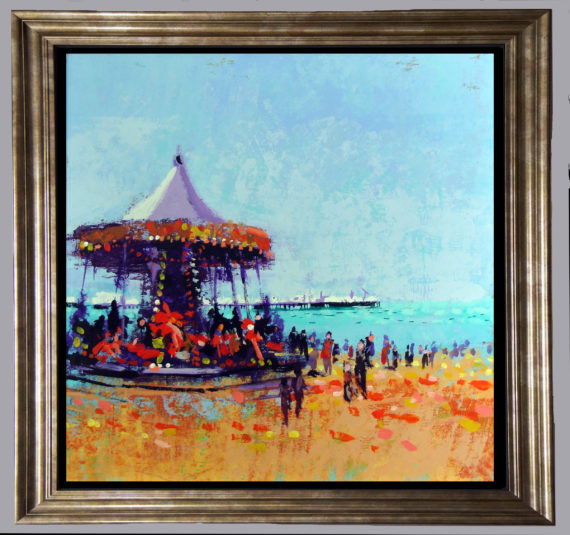 carousel in gold frame